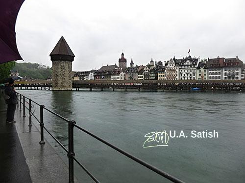 Chapel Bridge; Lucerne; Switzerland; bridge; water; lake; buildings; architecture; outdoor; uasatish; http://uasatish.com;