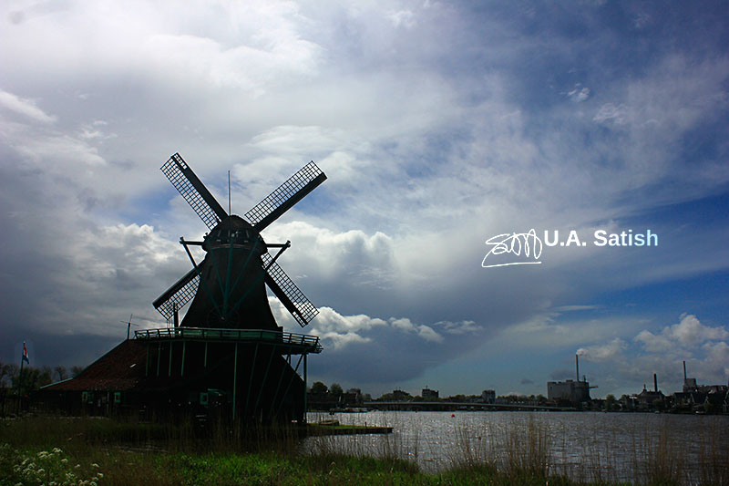 Windmill; Holland; Netherlands; sky; clouds; uasatish; http://uasatish.com; Happy Diwali;