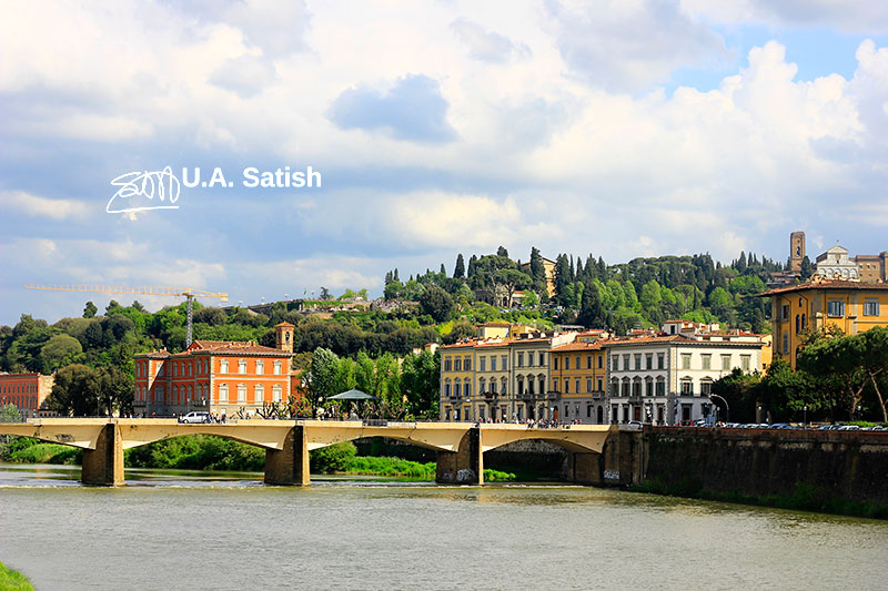 River Arno; bridge; Florence; Italy; water; sky; clouds; buildings; uasatish; outdoor;