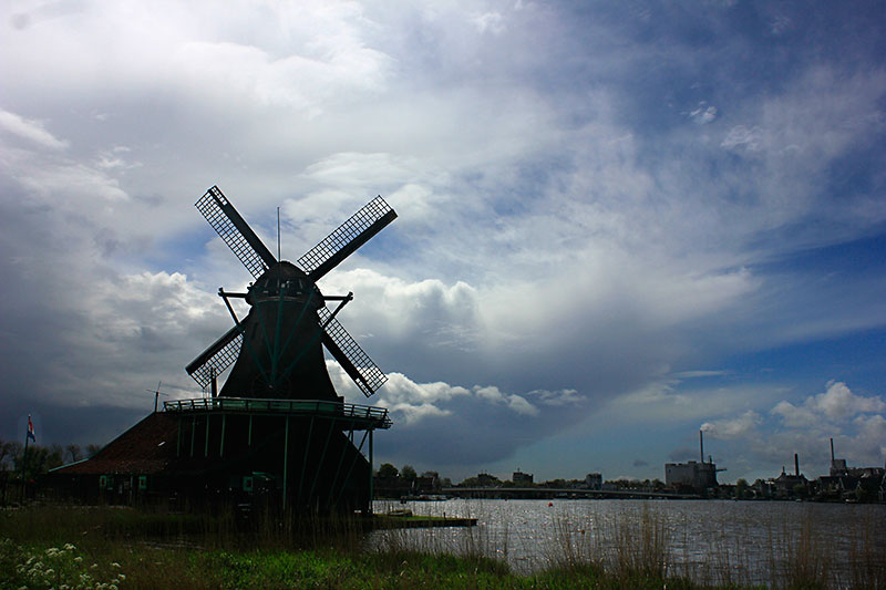 windmill; Netherlands; Zaanse Schans; outdoor; clouds; sky; uasatish; http://uasatish.com;