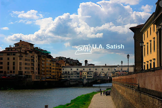 Ponte Vecchio; Florence; Italy; bridge; Arno River; outdoor; sky; clouds; travel; uasatish;