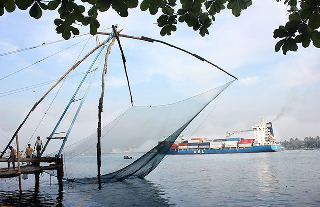Chinese Fishing Net; Fort Kochi; Kerala; India; outdoor; ship; sea; uasatish;