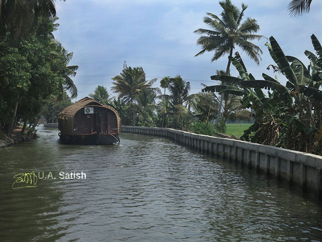 Houseboat; Alapuzha; Kerala; India; canal; outdoor; water; sky; uasatish;