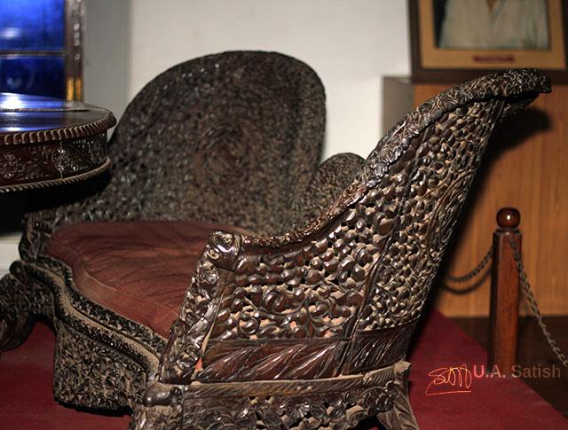 Sofa; Arakkal Palace; Arakkal Museum; Kannur; Kerala; India; uasatish;