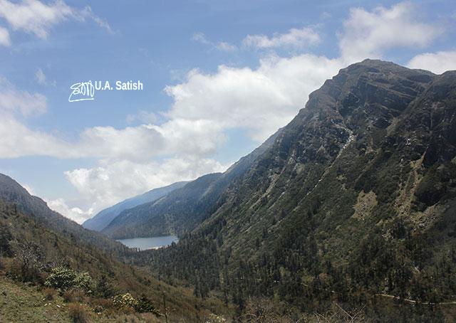Elephant Lake; steep mountains; sky; clouds; Sikkim; India; uasatish;Kupup Lake;