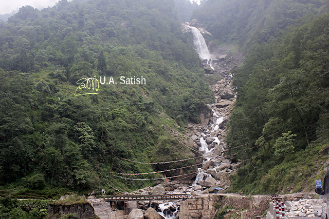 Sikkim; North Sikkim; India; uasatish; Bhewma Falls; rocks; trees;