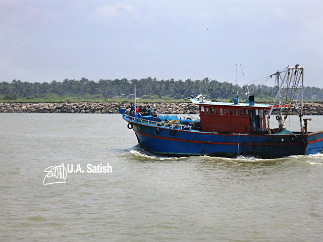Beypore; Kerala; India; uasatish; fishing boat; sea; sky; rocks;
