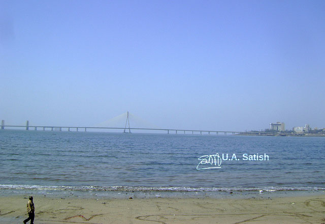 Bandra Sea Link; bridge; Mumbai; India; sea; sand; uasatish; sky;