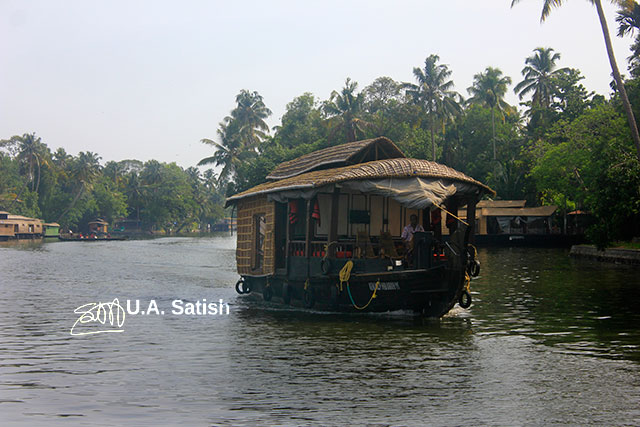 Kerala; Alappuzha; Punnamada Lake; jouseboat; India; trees; sky; uasatish;