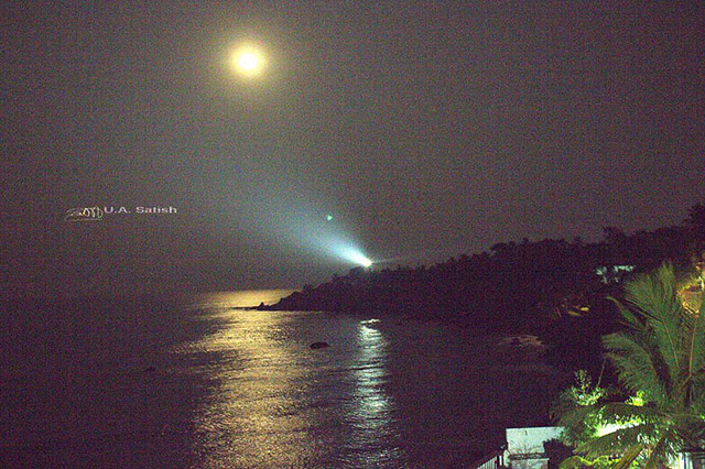 uasatish, India, Kerala, Kannur, lighthouse, moonlit,
