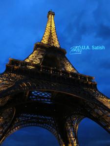 Eiffel Tower; Paris; uasatish; https://uasatish.com; outdoor; illuminated; night sky;