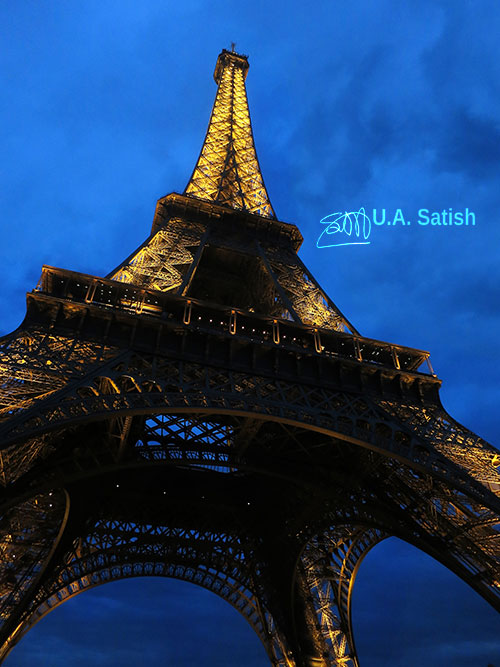Eiffel Tower; Paris; uasatish; https://uasatish.com; outdoor; illuminated; night sky;
