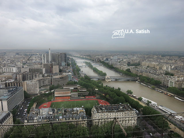 Eiffel Tower; Paris; top floor; River Seine; uasatish; https://uasatish.com; outdoor; aerial view;