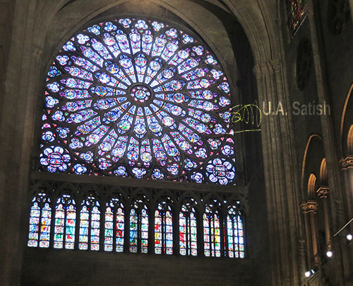 Notre Dame Cathedral; Paris; France; church; architecture; building; uasatish; https://uasatish.com; stained glass window; indoor;