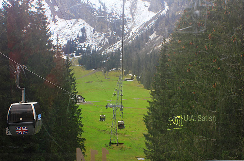 Mount Titlis; Switzerland; Swiss Alps; snow; trees; cable cars; mountains; uasatish; https://uasatish.com;