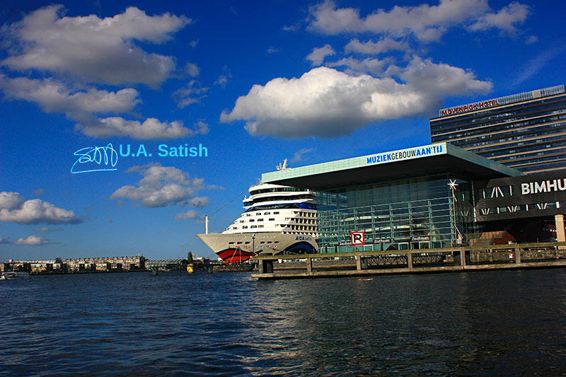 Amsterdam Cruise Port; Amsterdam; Netherlands; cruise vessel; clouds; outdoor; sky; uasatish;