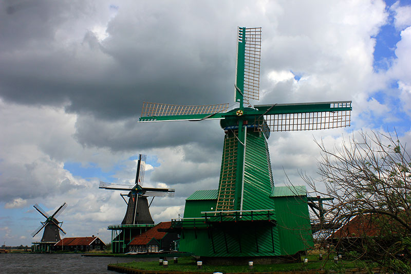 windmills; Netherlands; outdoor; sky; clouds; building; uasatish;