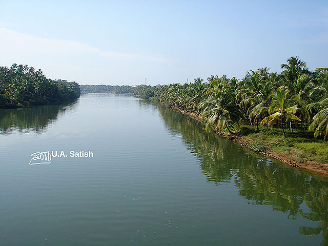 Nileshwaram river; Kerala; India; outdoor; river; sky; coconut trees; uasatish;