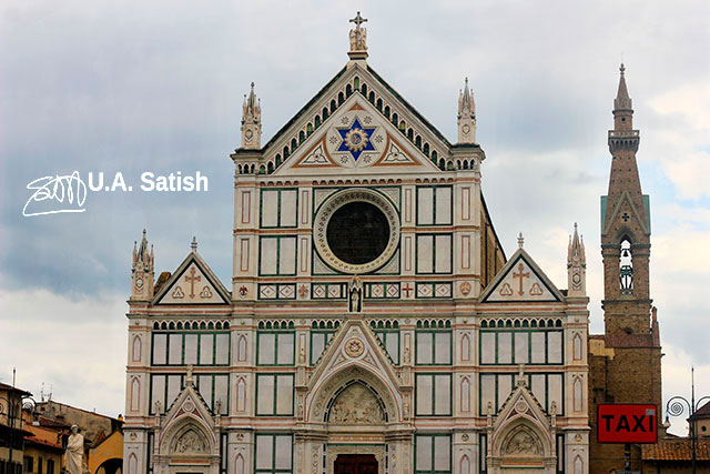 Basilica of Santa Croce; Florence; Italy; outdoor; travel; building; architecture; uasatish;