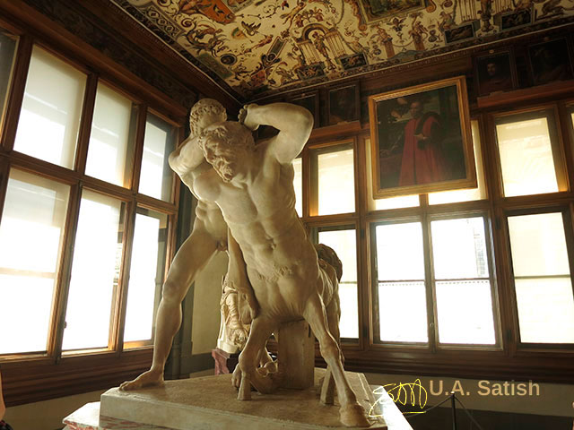 Hercules and Nessus; sculpture; Uffizi Gallery; Florence; Firenze; Italy; Italia; indoor; travel; uasatish;