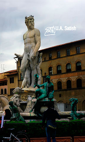 Neptune Fountain; Piazza Della Signoria; Florence; Italy; Firenze; sculpture; outdoor; travel; uasatish;