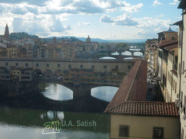 Ponte Vecchio; Florence; Firenze; Italy; outdoor; River Arno; travel; sky; clouds; uasatish;