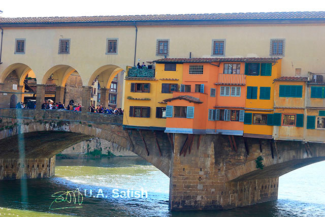Ponte Vecchio; bridge; Florence; Firenze; Italy; outdoor; travel; sky; clouds; River Arno; uasatish;