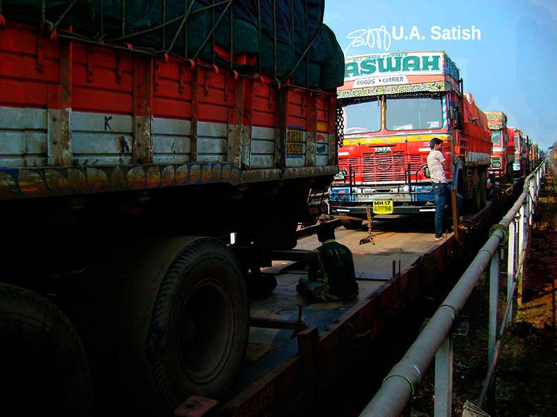 Trucks, travel, outdoor, train, roll on roll off, transportation, uasatish