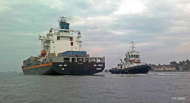 Kochi Harbour; Kochi; Kerala; India; outdoor; container ship; tug boat; outdoor; uasatish; sea;