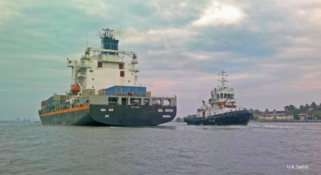 Container Ship and Tug; Fort Kochi; Kerala; Kochi Harbour; uasatish;