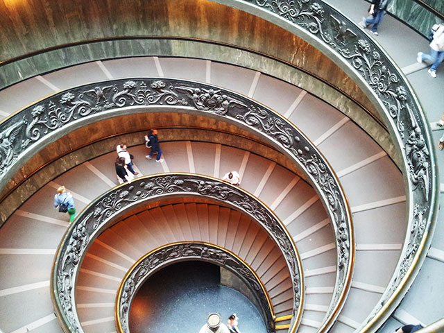 Vatican Museums; Vatican City; Rome; Italy; uasatish; museums; Sistine Chapel; staircase;