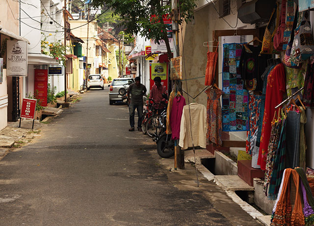 Fort Kochi; Kerala; India; lane; outdoor; shops; uasatish;