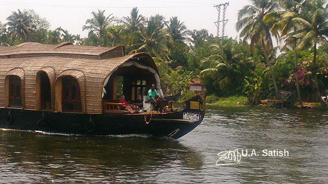 Houseboat; Alapuzha; Kerala; India; lake; water; sky; outdoor; uasatish; trees;