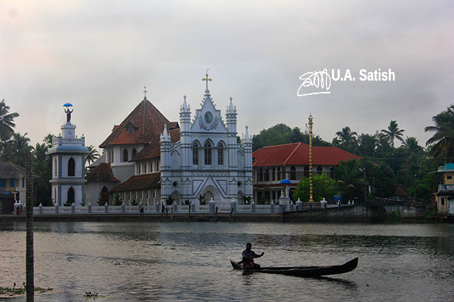 church; Alapuzha; Kerala; India; Pulinkunnu; outdoor; water; sky; uasatish; architecture;