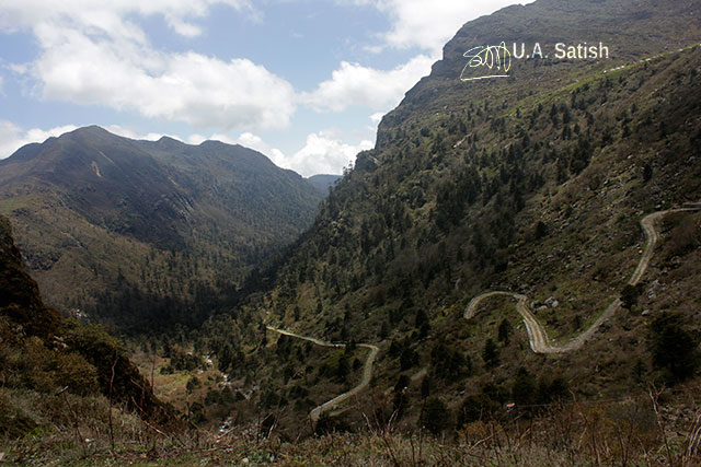 Sikkim; India; mountains; sky; clouds; roads; uasatish;