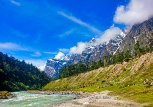 Yumthang Valley; glacial stream; Sikkim; Himalayan mountains; snow; tres; sky; clouds; uasatish;