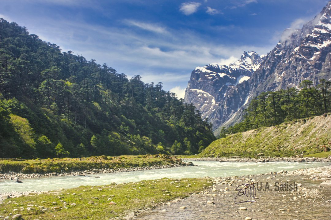Yumthang Valley; Sikkim; Himalayan Moutains; flacial strem; uasatish; sky; clouds; trees;