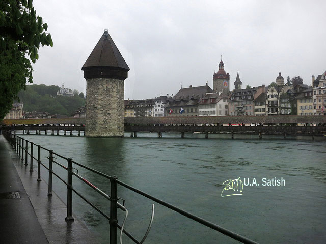 Chapel Bridge; Kapellbrücke; Lucerne; Switzerland; River Reuss; buildings; sky; uasatish; Luzern;