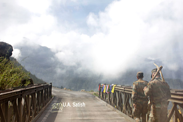 bridge; Sikkim; India; workers; clouds; uasatiish;