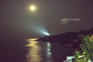 Kerala; Kannur; lighthouse; moon; sea; sky; uasatish;