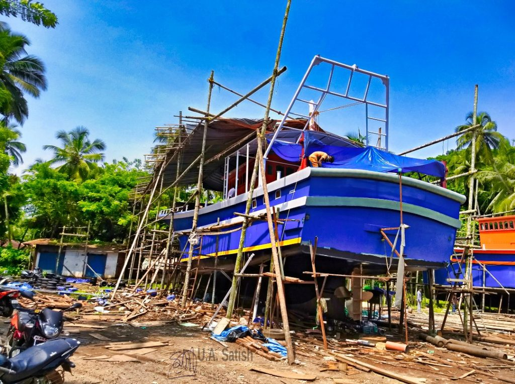 A Fishing Boat Being Built: Beypore; handcrafted boat; Kerala; uasatish;