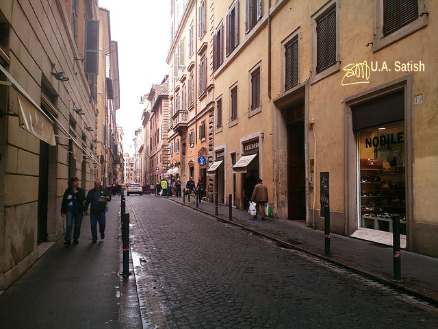 Rome; street; architecture; Italy; cobbled street; uasatish; buildings;