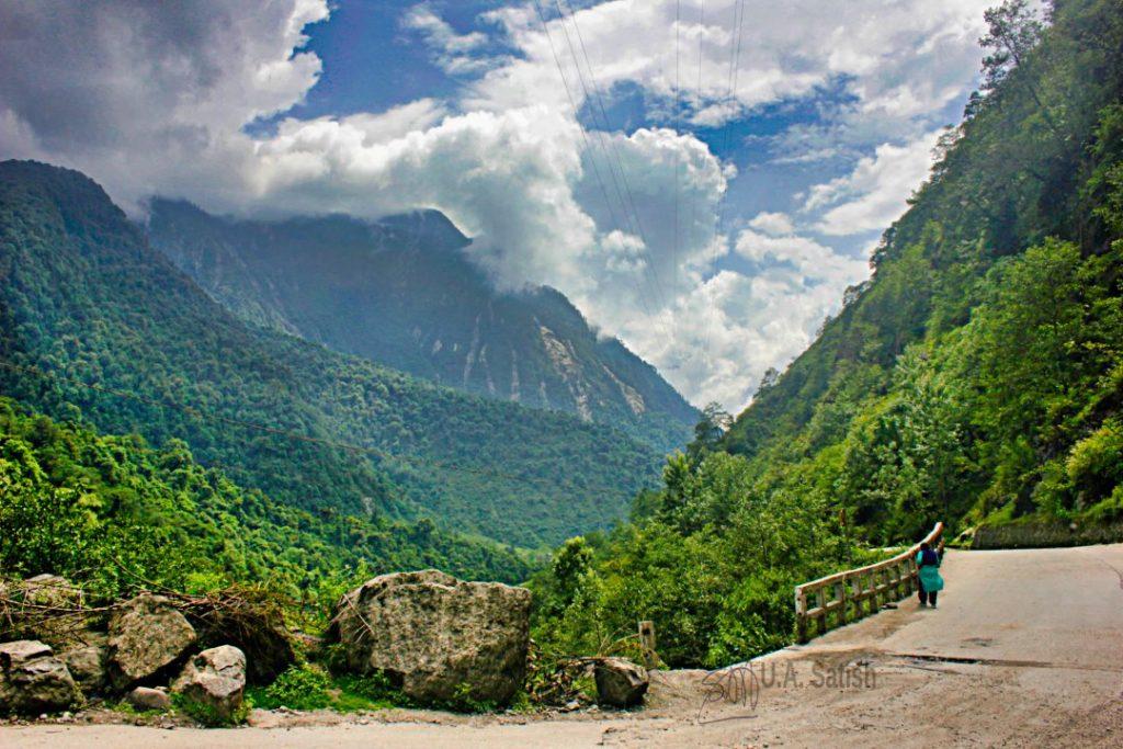 Mountain Road; Sikkim; uasatish; clouds; trees; sky;