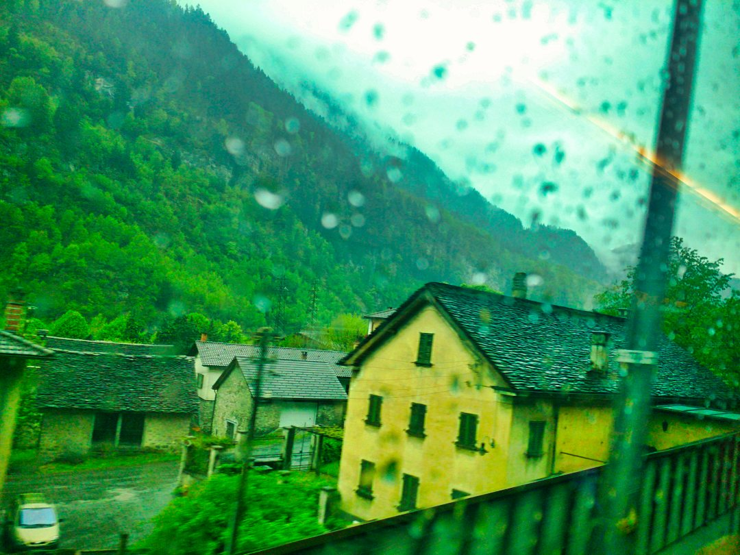 Swiss Village; train window; European Train Travel; uasatish;