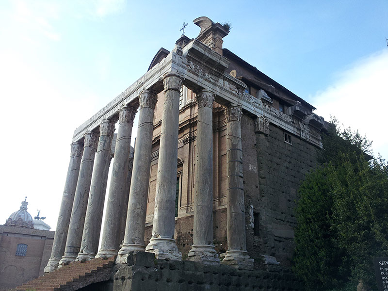 Temple of Antoninus and Faustina; Roman Forum; Rome; Italy; Travel; uasatish; ruins of ancient Rome;