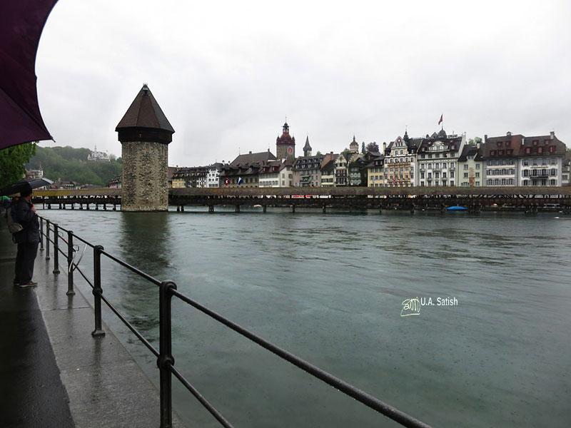 River Reuss; river; Lucerne; Switzerland; Chapel Bridge; uasatish;