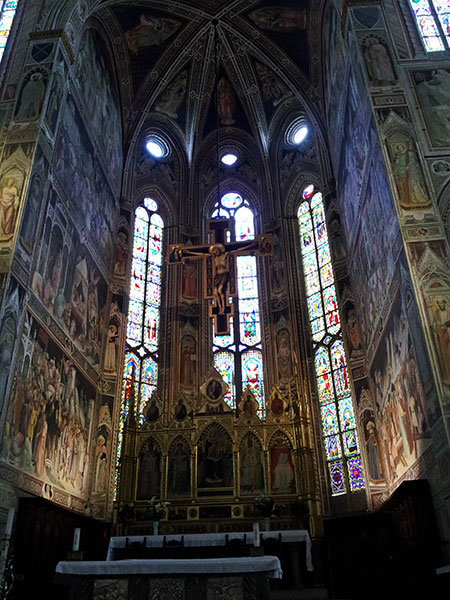 Santa Croce Basilica; Florence; Italy; altar; stained glass windows; uasatish;