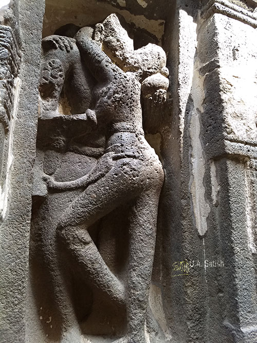 Kailasa Temple; Ellora Caves; India; rock cut temple; cave no 16; uasatish; erotic sculpture;