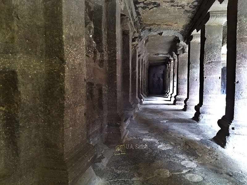 Kailas Temple; Ellora Caves; cave no. 16; rock cut caves; India; Maharashtra; temple; UNESCO heritage site; uasatish; corridor;