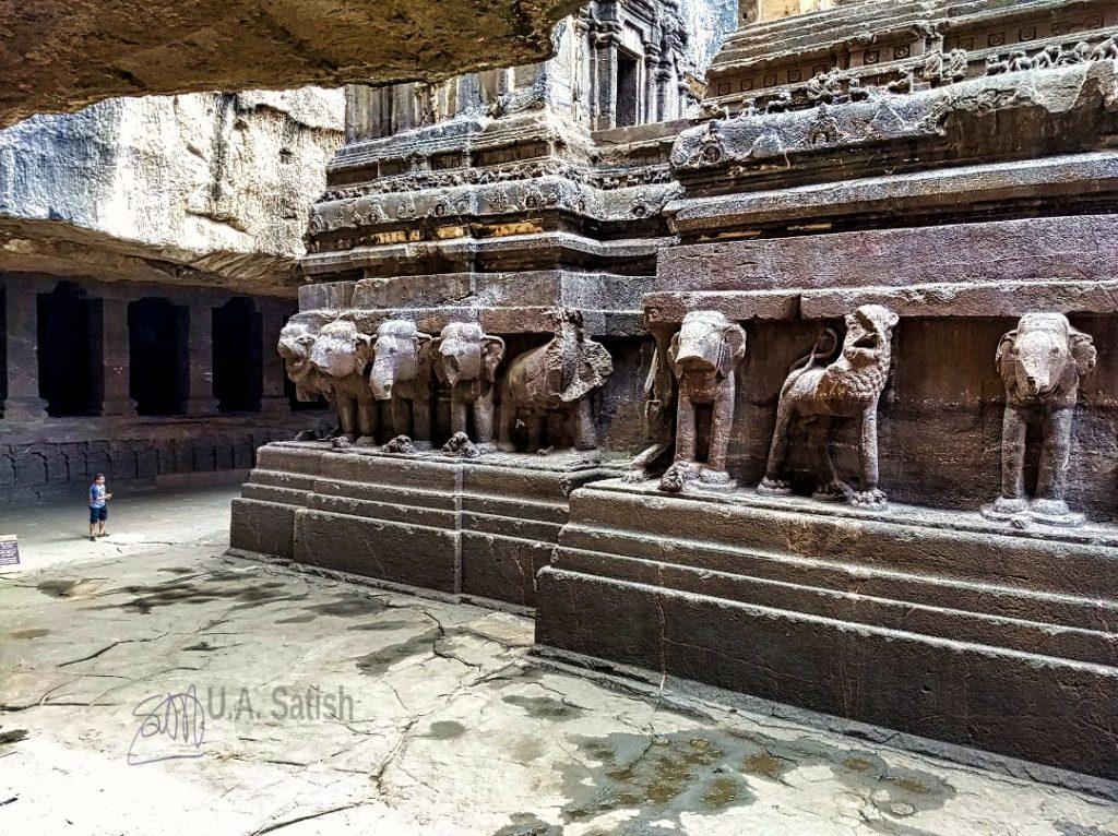 Kailasa Temple; Ellora Caves; Maharashtra; elephant figures; uasatish;